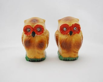 Antique 1940's Ceramic Owl Bird Cage Feeders/ Waterers - Pair Set of Two