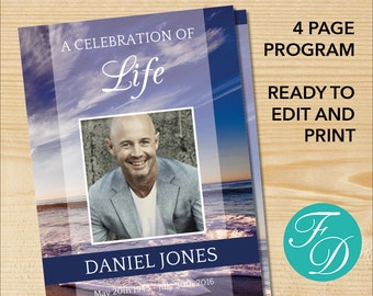 Funeral Program Template - Order of Service | Memorial Programs | Memorial Service | Celebration of Life | Funeral Templates (BEACH)