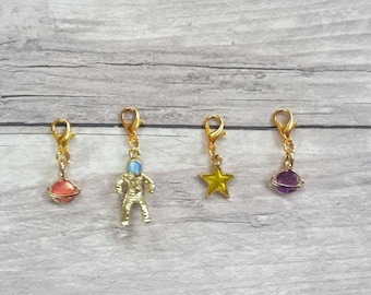Space Stitch Markers// Planet Progress Keepers// Enamel Knitting Markers