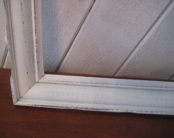 Painted ivory distressed wood frame, rustic vintage frame, decorative, cream or off white, 15 x 20