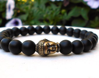 Mens Buddha Bracelet, Mens Bracelet, Black Onyx Jewelry, Yoga Bracelet, Buddha Jewelry, Buddhist Bracelet, Buddhist Jewelry, Black Bracelet