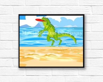 Iguana, Frisbee, Beach, Children's Book Art, Wall Art, Nursery Room Art, instant download, digital print, digital art, 8x10