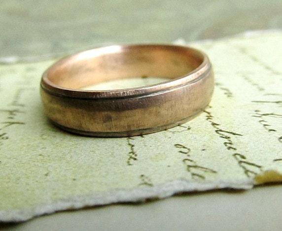 Rustic Handmade Gold Wedding Band in 14k Rose Gold Comfort