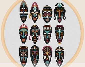 African masks - Cross stitch pattern
