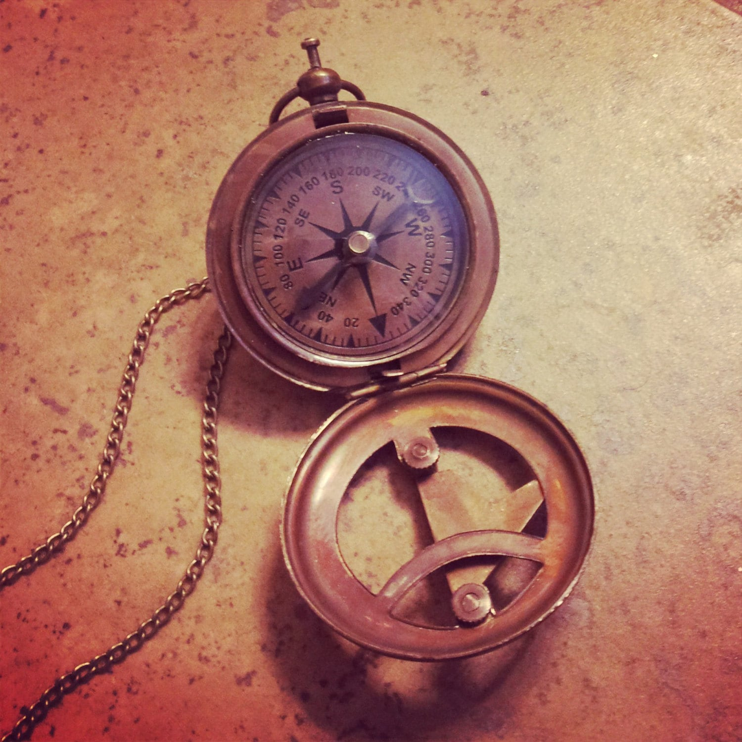BEST SELLER Vintage Style Sundial Compass Necklace Nautical