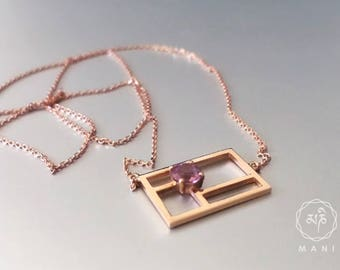 Rose Gold Necklace with Sri Lankan Sapphire