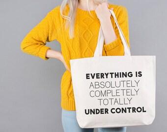 Nappy Bag - Shoulder Bag for Mom - Everyday Bag - Canvas Shopper Bag - Under Control Big Canvas Bag - Alphabet Bags