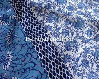 "Blue Phoenix -Japanese imported border print chiffon fabric, one yard by 44"" wide"