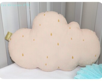 """Golden rain"" cloud pillow personalized"