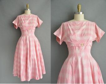 50s pink cotton plaid vintage dress. vintage 1950s dress