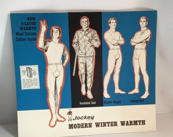 Underwear Advertising Mens Jockey Modern Winter Warmth Store Display Cardboard Lithograph Stand Up Display 1960's-1970's