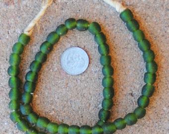 Ghana Glass Beads: Green  10x10mm