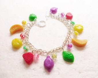 Fruit Gums Charm Bracelet . Polymer clay.