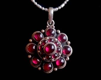 Garnet Flower Silver Pendant