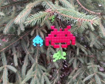 Christmas tree geek space invaders set of 3