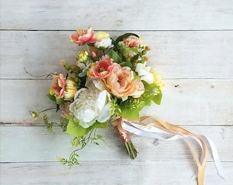 Peach, White, and Yellow Wedding Bouquet, with matching Boutonniere, Ready to Ship!