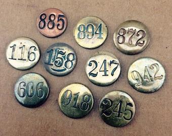 Antique Numbered Thumb Tacks - vintage metal tacks with black numbers - brass thumb tacks