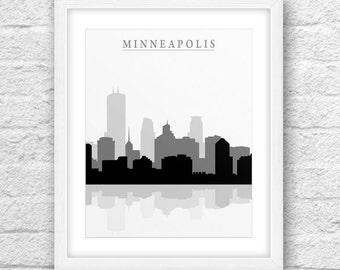 Minneapolis City, Minneapolis Print, Minneapolis Art, Minneapolis Skyline, Wall Art, Minimal Design, Minimalist Art, Minneapolis Printable