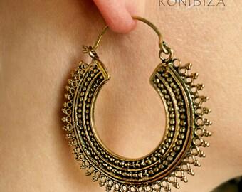 Brass Earrings - Brass Hoops - Gypsy Earrings - Tribal Earrings - Ethnic Earrings - Indian Earrings - Tribal Hoops - Indian Hoops EB127
