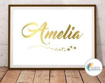 Personalised Name Foil Print - Foil Name Print - Personalised Nursery Print - Your Name Print