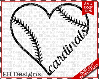 Cardinals Baseball Love SVG DXF EPS Cutting Machine Files Silhouette Cameo Cricut Cardinals Vinyl Cut File Softball Vector svg file