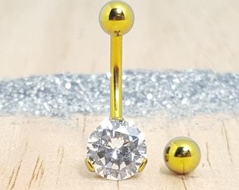 Gold Titanium Belly Button Ring with Swarovski - Internally threaded Navel Piercing Jewelry