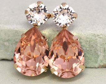 Blush Earrings, Bridal Morganite Earrings, Swarovski Blush Earrings, Bridal Blush Earrings, Bridesmaids Earrings, Blush Pink Earrings