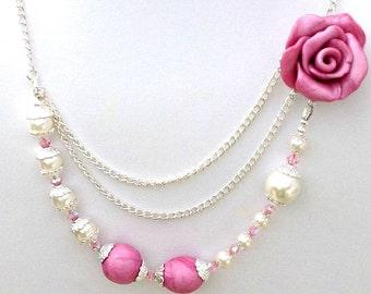 Pink Rose Necklace, Pearl Necklace, Swarovski -Polymer Clay Necklace- Rose Necklace