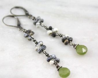 Long Dendritic Opal and Vesuvianite Oxidized Silver Earrings