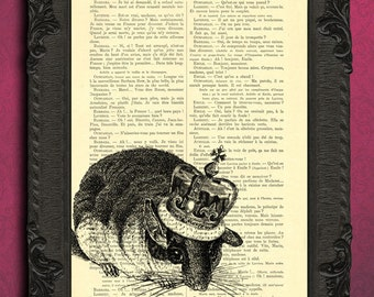 Mouse art book page art print, dormouse with crown illustration on book page, buy 2 get 1 free sale, flat rate shipping 3.95USD