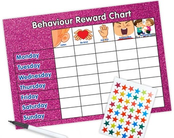 Re-usable Behaviour Reward Chart (including FREE Stickers and Pen) - Pink Glitter Design