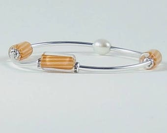Sterling silver,David Christensen, Furnace glass bead, Tangerine, Handmade, Freshwater pearl, bead bracelet, stretch, crystal,  bracelet