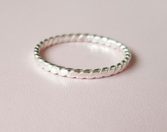 Silver Ring minimalist ring Twist Ring Sterling Silver Pattern Ring sterling stacking rings