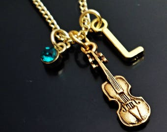 Great Design VIOLIN / CELLO personalized  initial Necklace With Personalized Birthstone  /J6