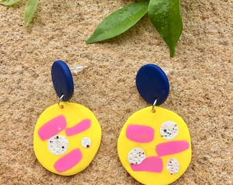 Polymer clay earrings / blue yellow and pink earrings / statement earrings / dangle earrings / stud earrings / unique earrings