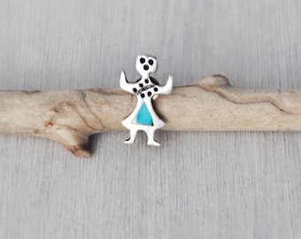 Vintage Kachina Tie Tack - tiny sterling silver turquoise inlay lapel pin - Southwestern Native American jewelry