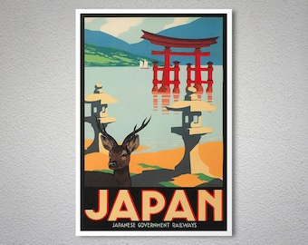 Japan Vintage Travel Poster, Canvas Giclee Print / Gift Idea