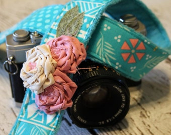 Camera Strap, dSLR Camera Strap, Padded Camera Strap, Gift For Her - Turquoise Patchwork
