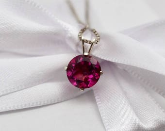 """Vintage Pink Topaz Pendant necklace, 18"""" chain Sterling Silver, 7 mm pendant, November birthstone, Fine estate jewelry, gifts for her"""