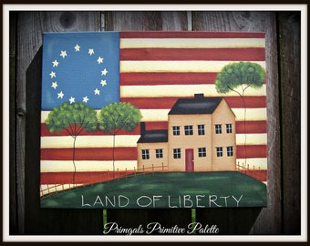 Americana Primitive Flag-Saltbox House-11 x 14 Canvas-Land of Liberty-Hand Painted