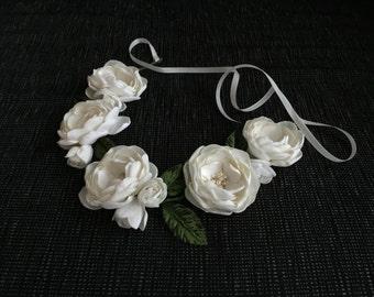 Ivory flower headband, Wedding headpiece, Ivory flower wreath, Bridal headband, Bridesmades flower, Flower girl headband, First communion