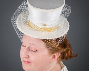 Ivory Silk Top Hat with Veil - mini bridal top hat, ivory bridal headpiece
