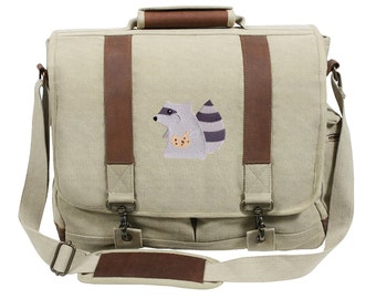 The Rapacious Raccoon Embroidered Canvas with Leather Accents Premium Laptop Bag
