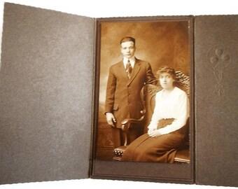 Antique Sepia Toned Photograph of Young Couple - woman, man, matte, tri-fold folder, vintage, photo, original, photography, scalloped edges