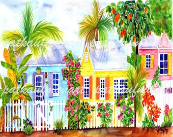Tropical Watercolor, Cottage Alley, Watercolor art, Cottage Living, Coastal Living, Pat Kaufman Art, Tropical, Beach Art, Tropical Decor,