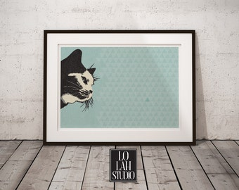 Cat print, Blue Cat Poster, Modern Wall Art, Nursery Wall Decor
