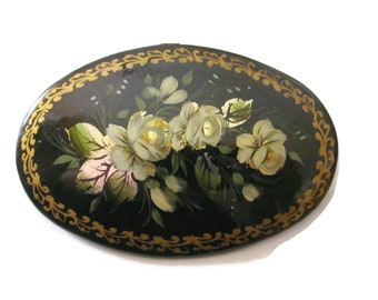 Vintage Hand Painted Russian Lacquered Brooch Pin White Roses