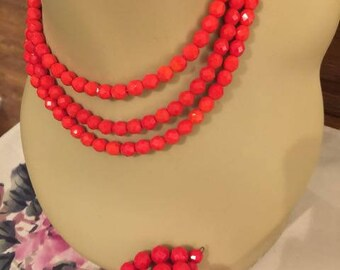Vintage Bright Red Laguna Three Strand Faceted Glass Bead Necklace with Matching Bracelet