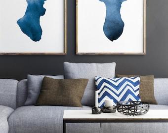 Navy Deer Set of 2, Abstract Animal Giclee Art Print, Deer Antlers Silhouette, Blue Home Decor