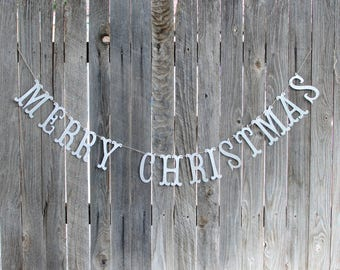 Merry Christmas Banner, Silver Glitter Banner, Rustic Garland, Christmas Mantle, Farmhouse Christmas, Christmas Photo Prop, Happy Holidays